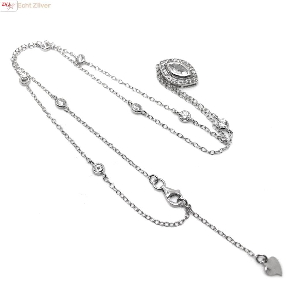 Zilveren ketting met marquise CZ hanger-3
