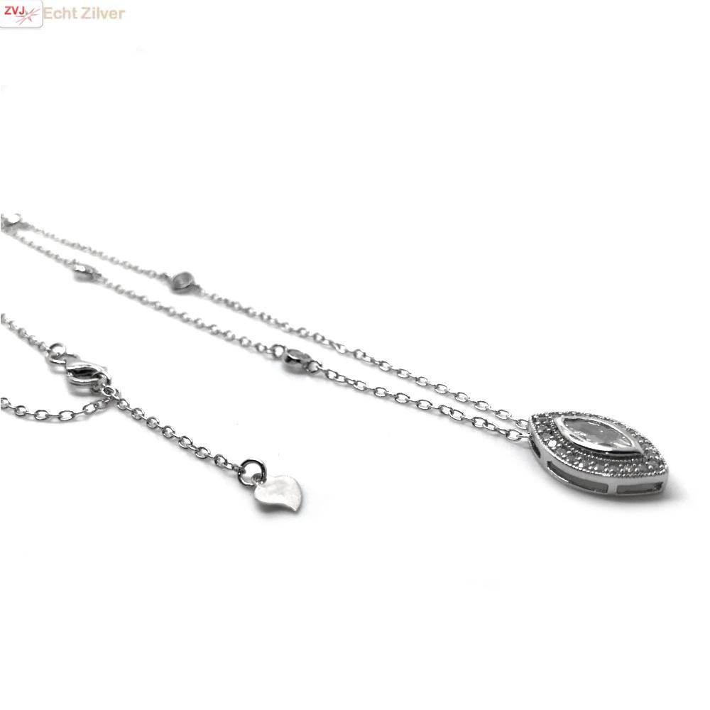 Zilveren ketting met marquise CZ hanger-4