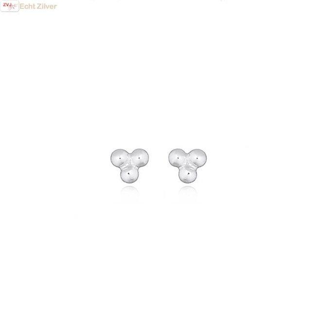 Zilveren mini oorstekers 3 kleine balletjes