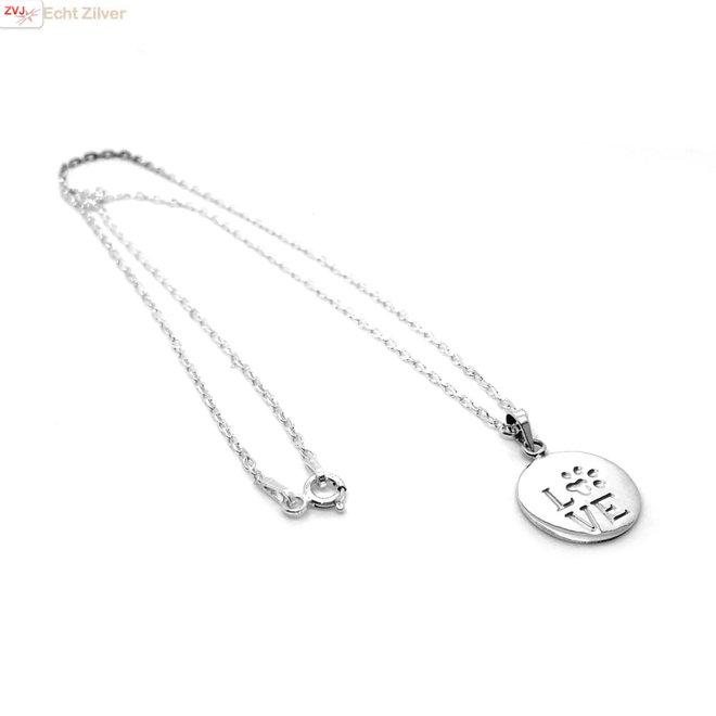 Zilveren ketting LOVE pootafdruk