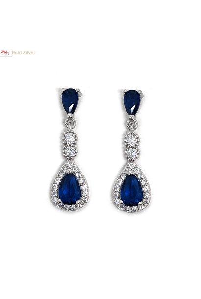 Zilveren saffier blauwe oorhangers