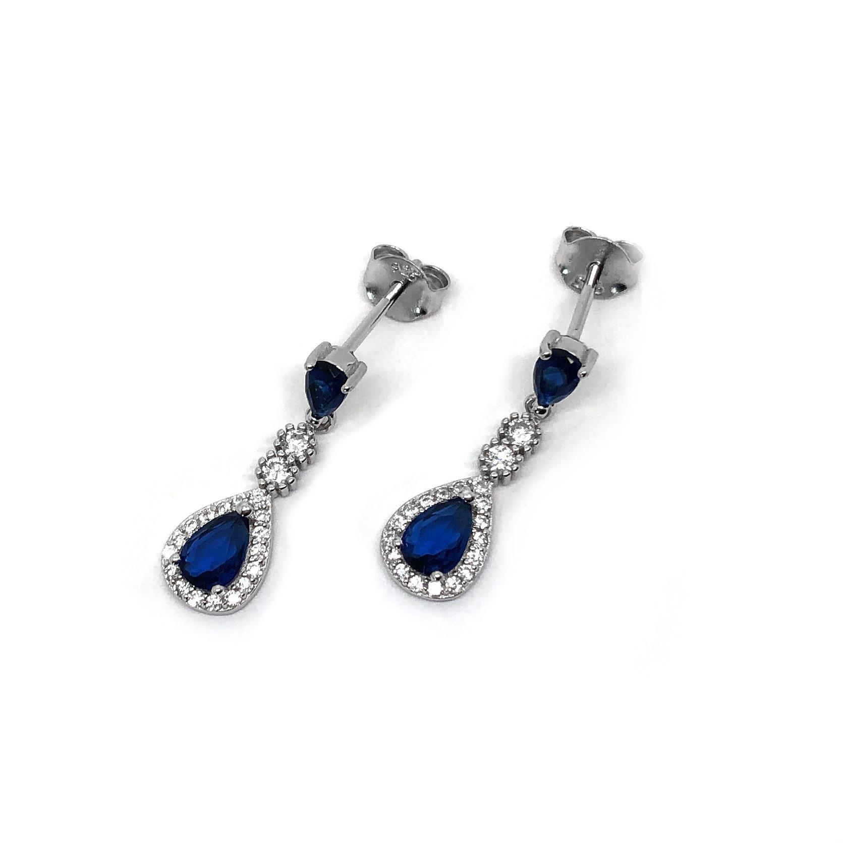Zilveren saffier blauwe oorhangers-3