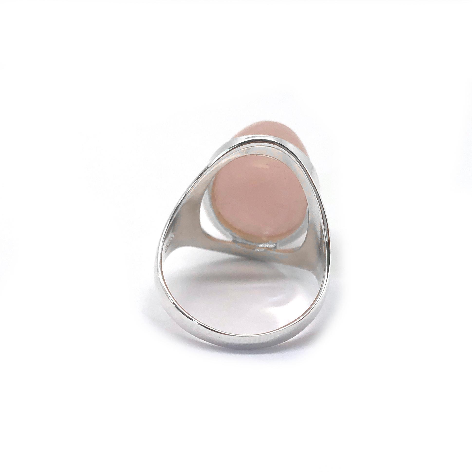 Zilveren grote roze kwarts ring-5