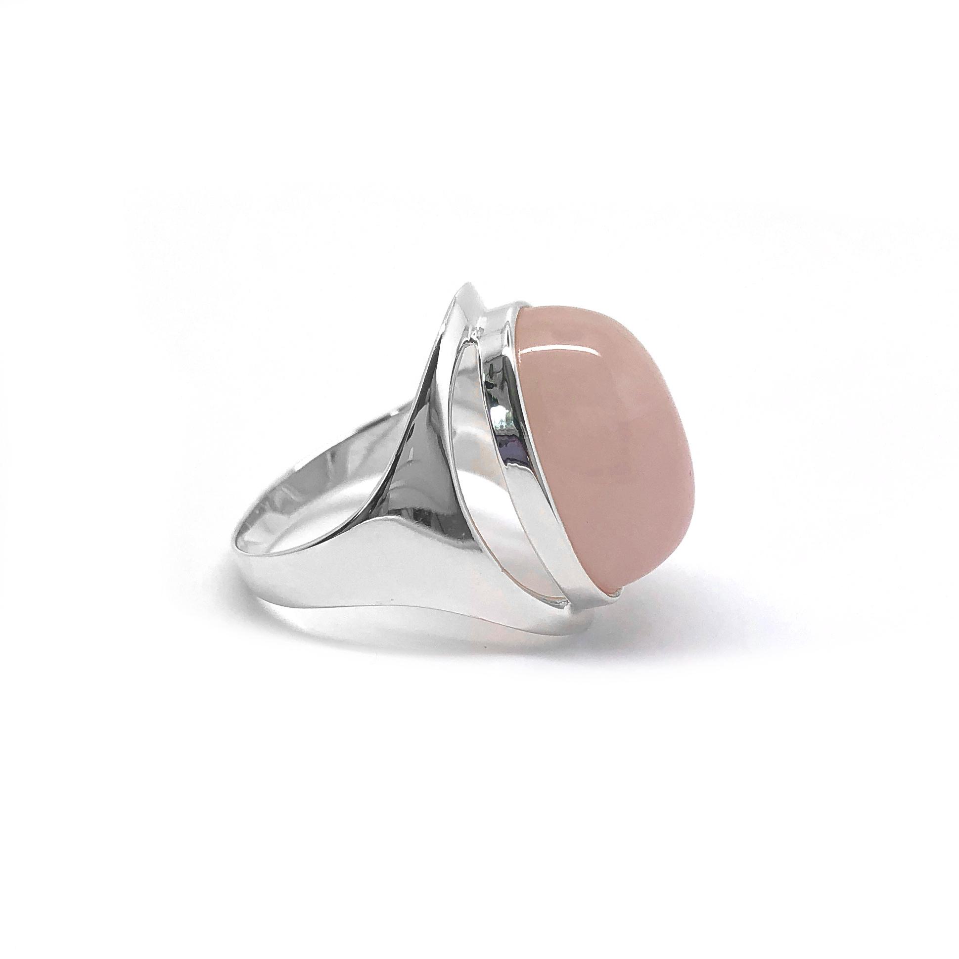 Zilveren grote roze kwarts ring-3