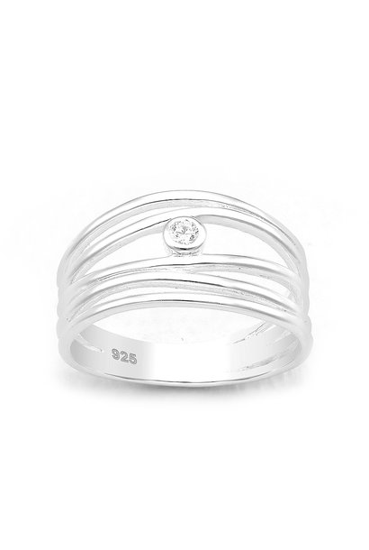 Zilveren 5 lijnen sierring met witte CZ