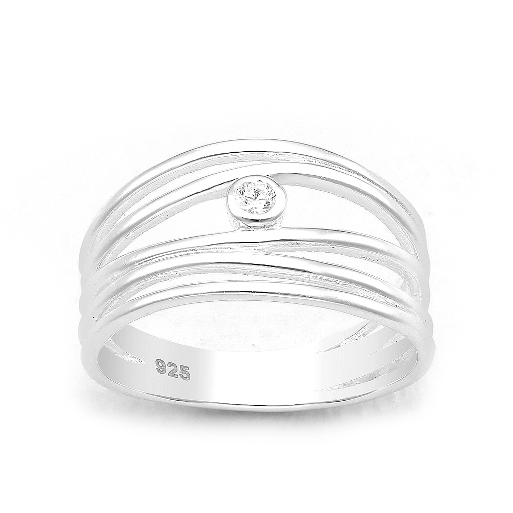 Zilveren 5 lijnen sierring met witte CZ-1