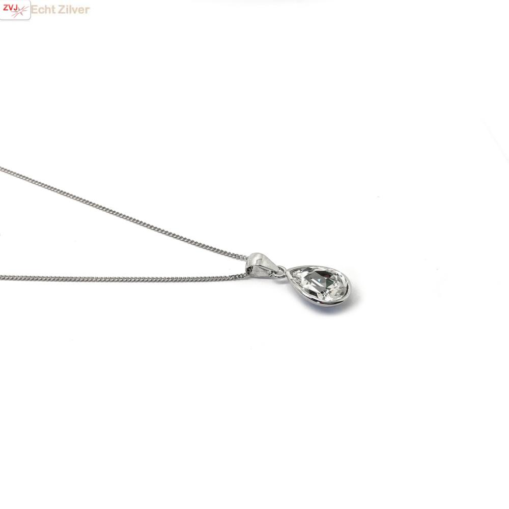 Zilveren Swarovski wit crystal druppel ketting-4