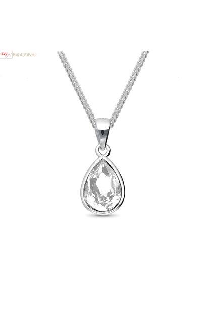 Zilveren Swarovski wit crystal druppel ketting
