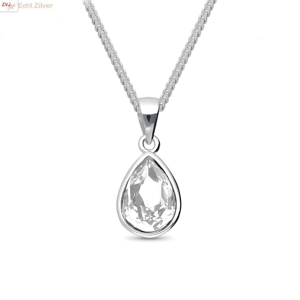 Zilveren Swarovski wit crystal druppel ketting-1