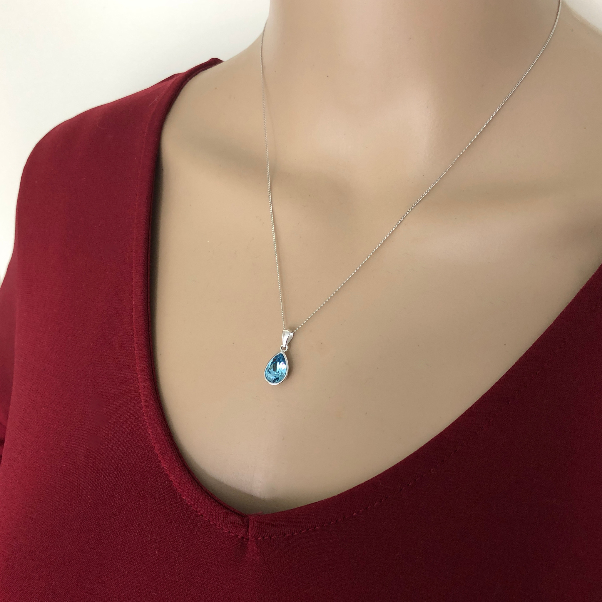 Zilveren Swarovski blauw aqua crystal druppel ketting-2