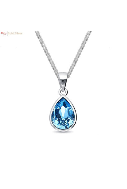 Zilveren Swarovski blauw aqua crystal druppel ketting