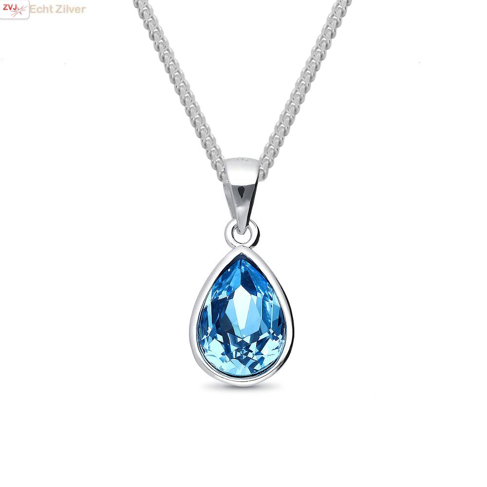 Zilveren Swarovski blauw aqua crystal druppel ketting-1