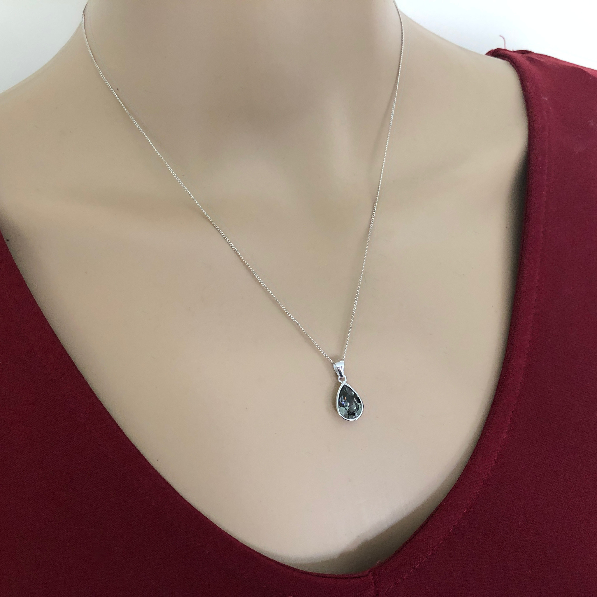 Zilveren Swarovski black diamond crystal druppel ketting-4