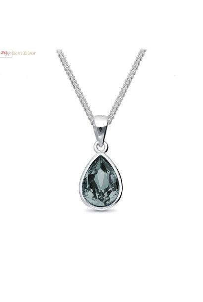 Zilveren Swarovski black diamond crystal druppel ketting