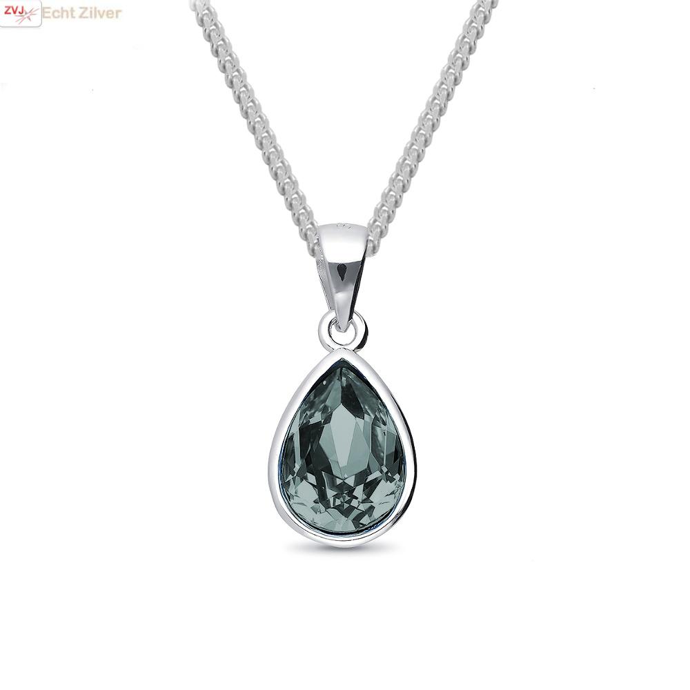 Zilveren Swarovski black diamond crystal druppel ketting-1