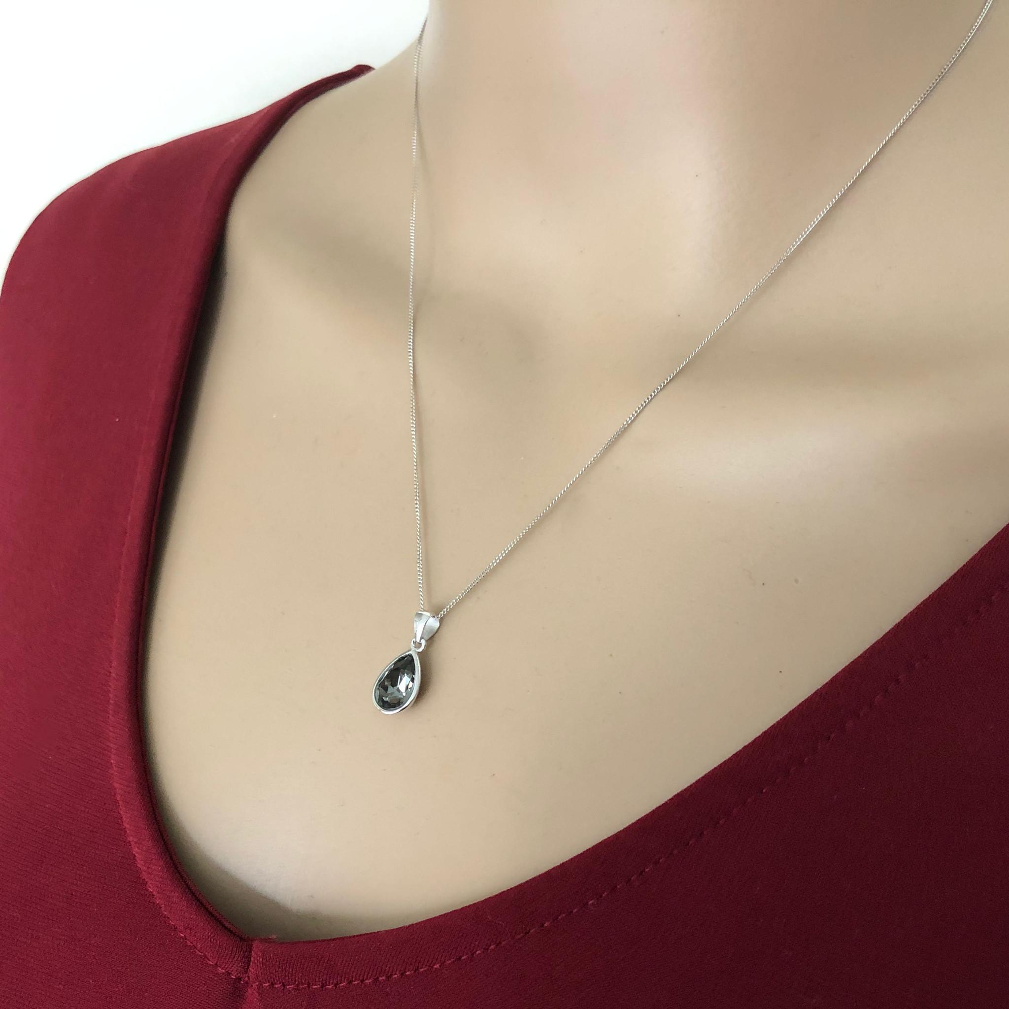 Zilveren Swarovski black diamond crystal druppel ketting-2