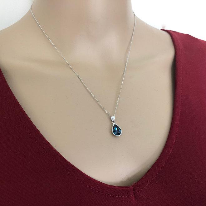 Zilveren Swarovski montana blauw crystal druppel ketting