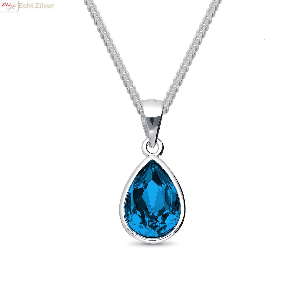 Zilveren Swarovski montana blauw crystal druppel ketting-1