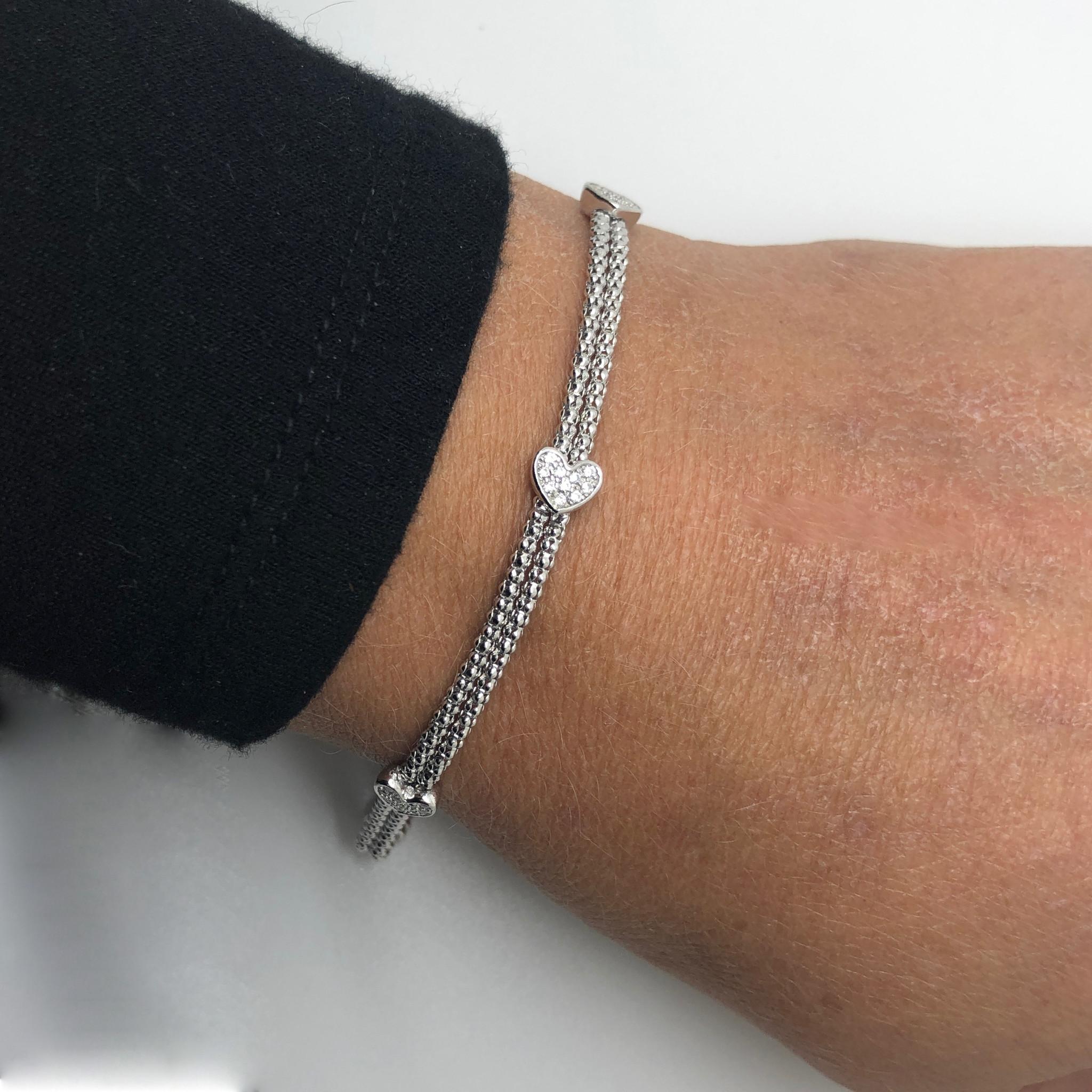 925 Zilveren popcorn armband 3 hartjes-2