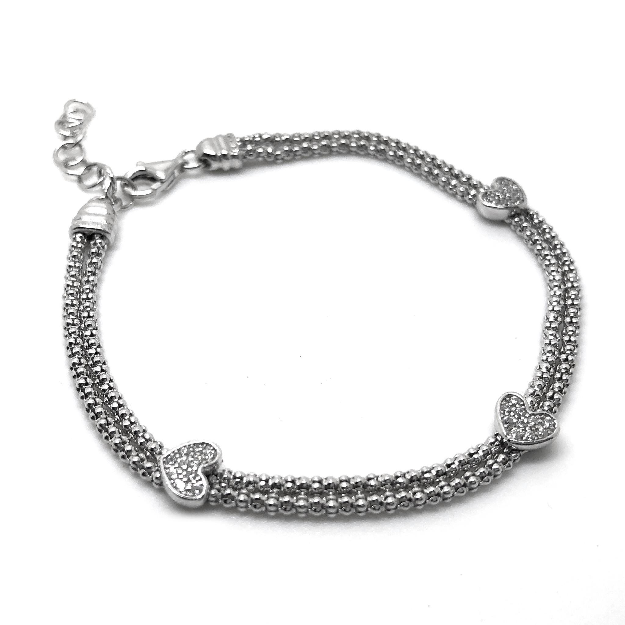 925 Zilveren popcorn armband 3 hartjes-3