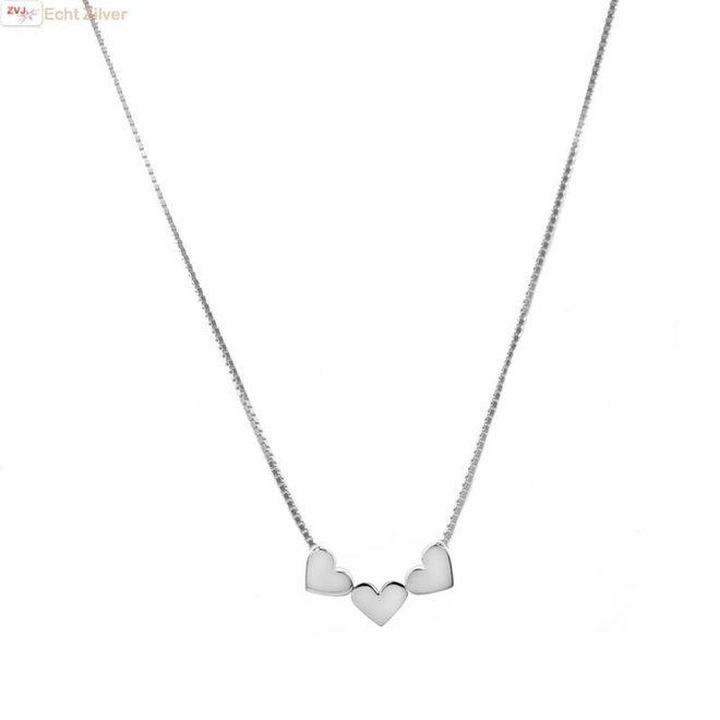 Zilveren 3 hartjes collier