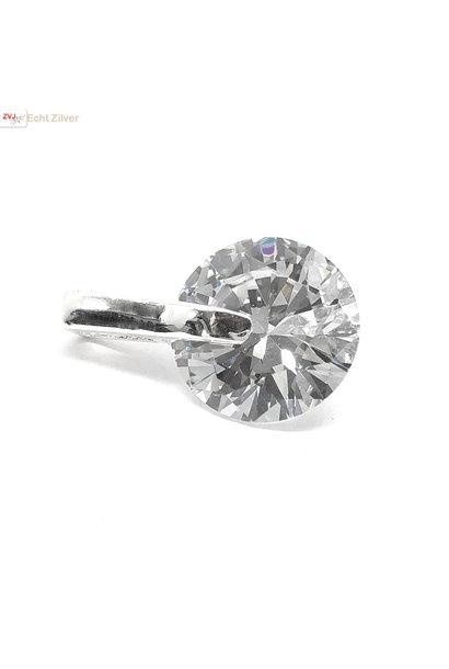 Zilveren witte diamant zirkoon kettinghanger