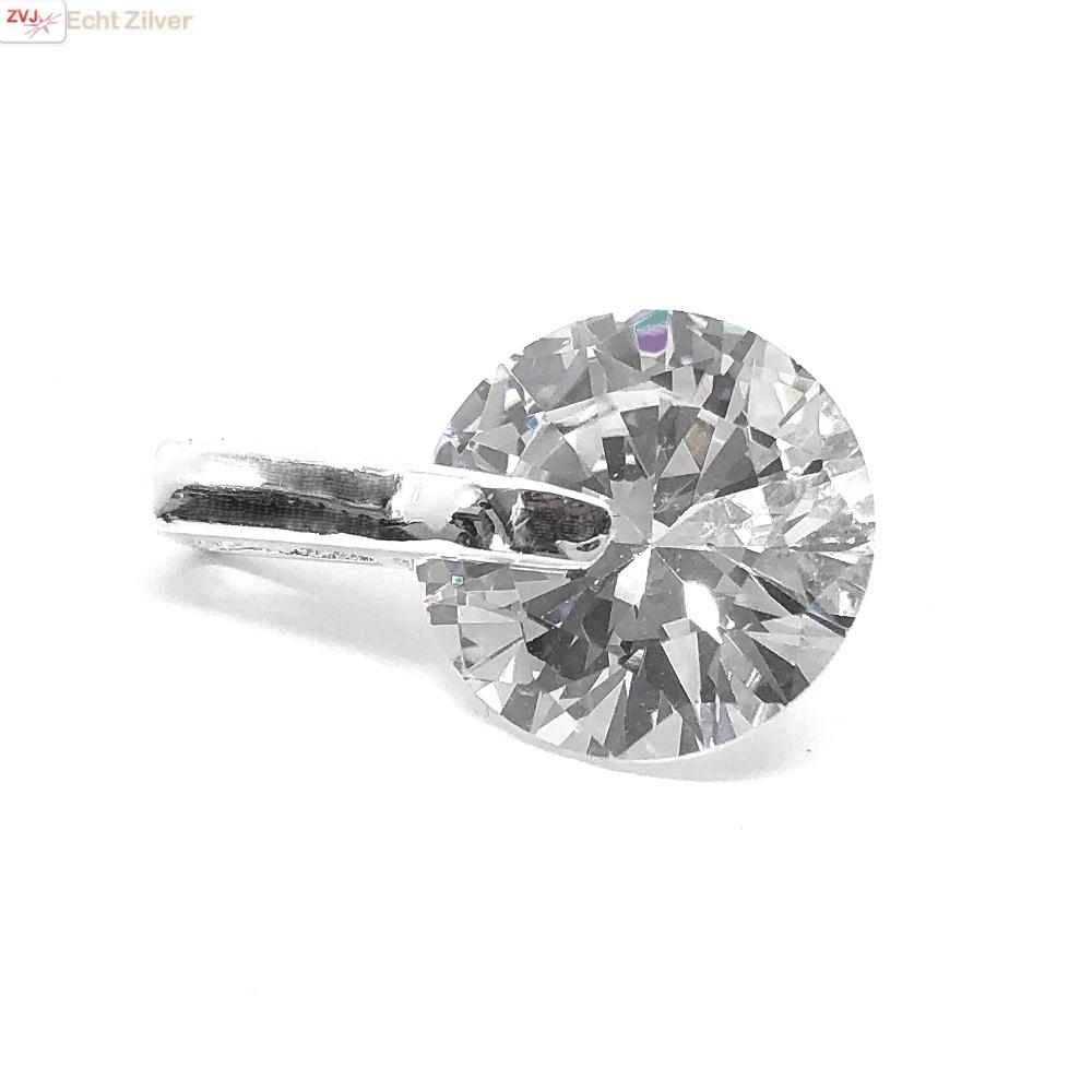 Zilveren witte diamant zirkoon kettinghanger-1