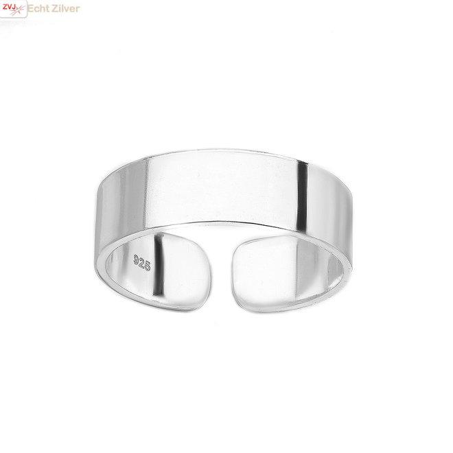 Zilveren teen ring