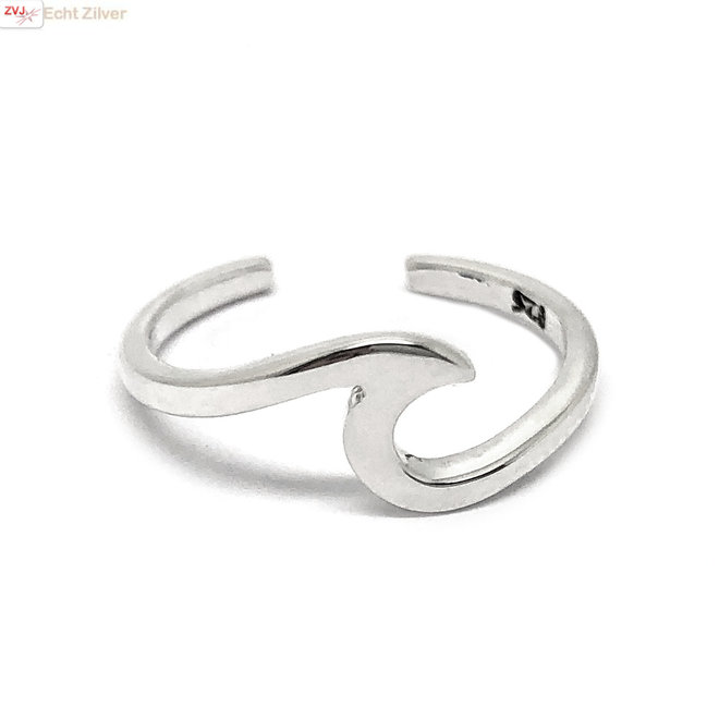Zilveren wave teen ring