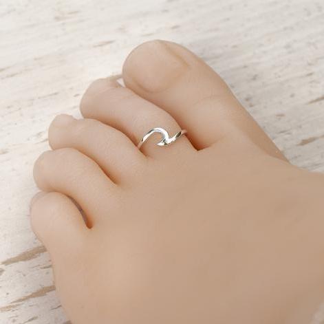 Zilveren wave teen ring-3