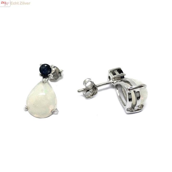 Zilveren blauwe saffier en opaal oorstekers