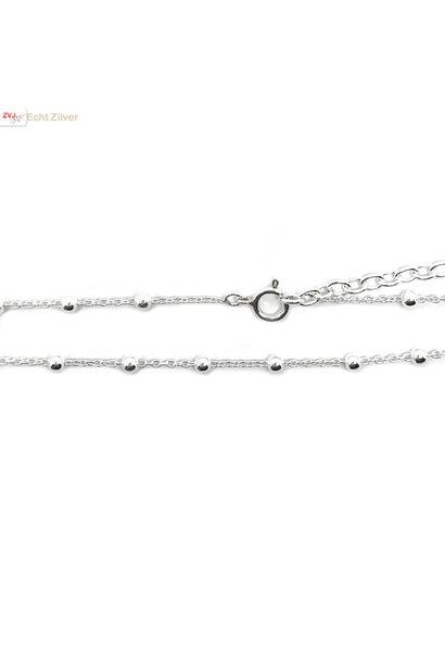 Zilveren kabel bolletjes ketting verstelbaar 40-45 cm