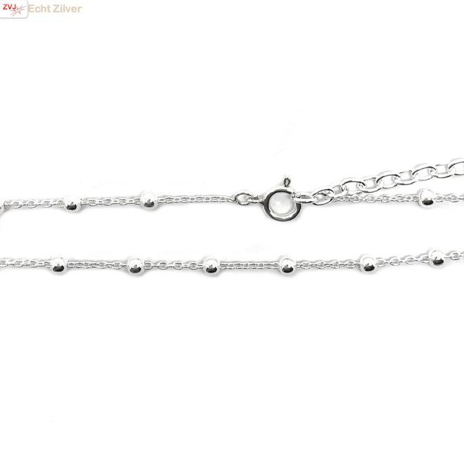 Zilveren kabel bolletjes ketting verstelbaar 45-50 cm