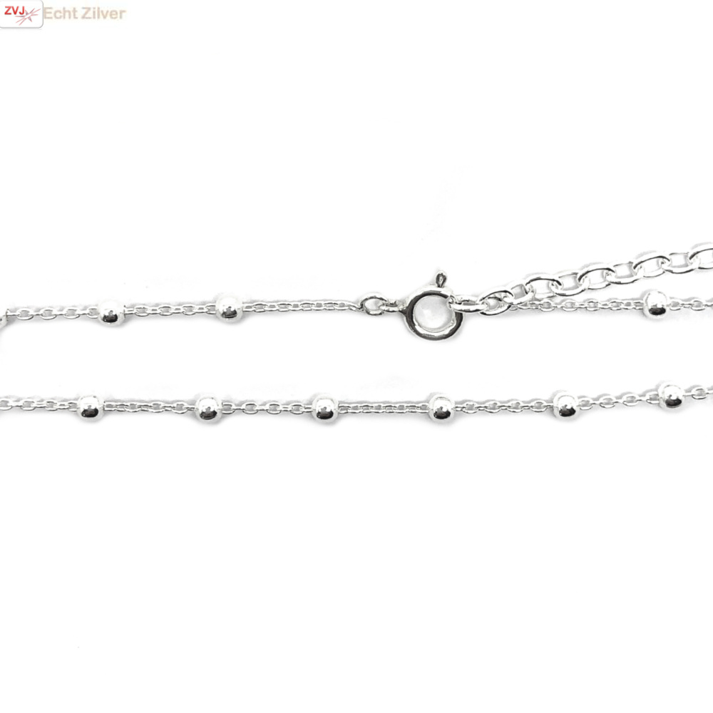 Zilveren kabel  bolletjes ketting verstelbaar 40-45 cm-1