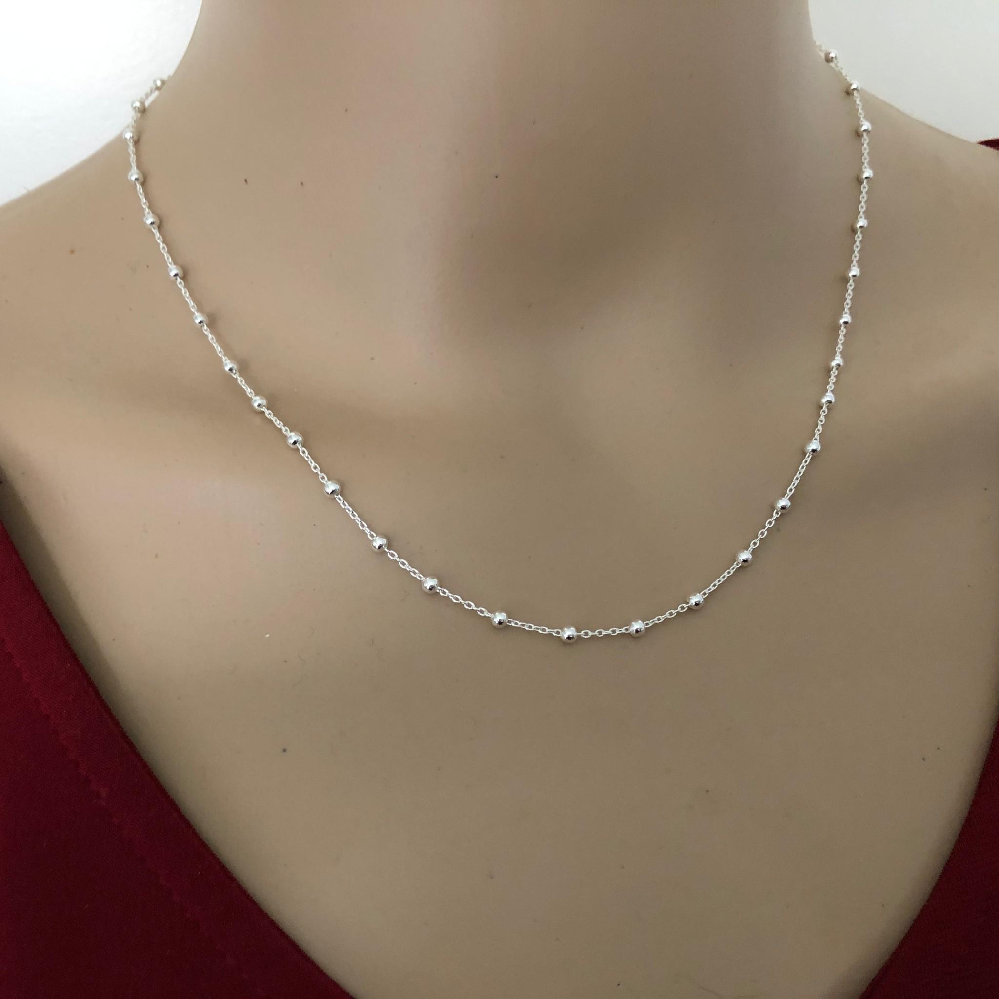 Zilveren kabel  bolletjes ketting verstelbaar 40-45 cm-2