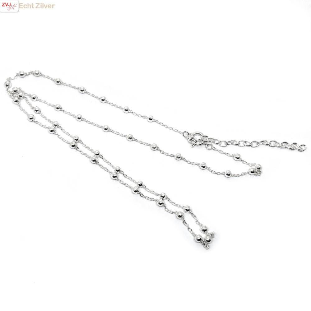 Zilveren kabel  bolletjes ketting verstelbaar 40-45 cm-3