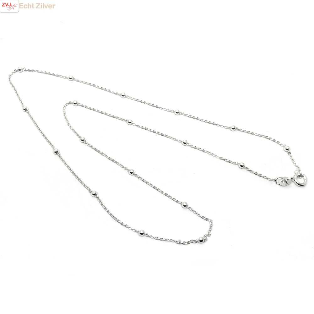 Zilveren kabel bolletjes ketting 45 cm-3