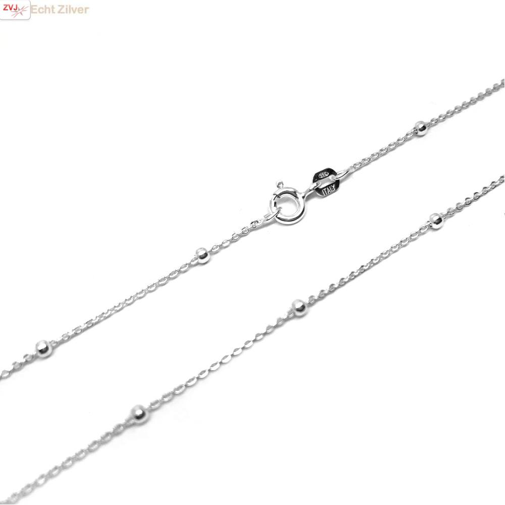 Zilveren kabel bolletjes ketting 45 cm-4