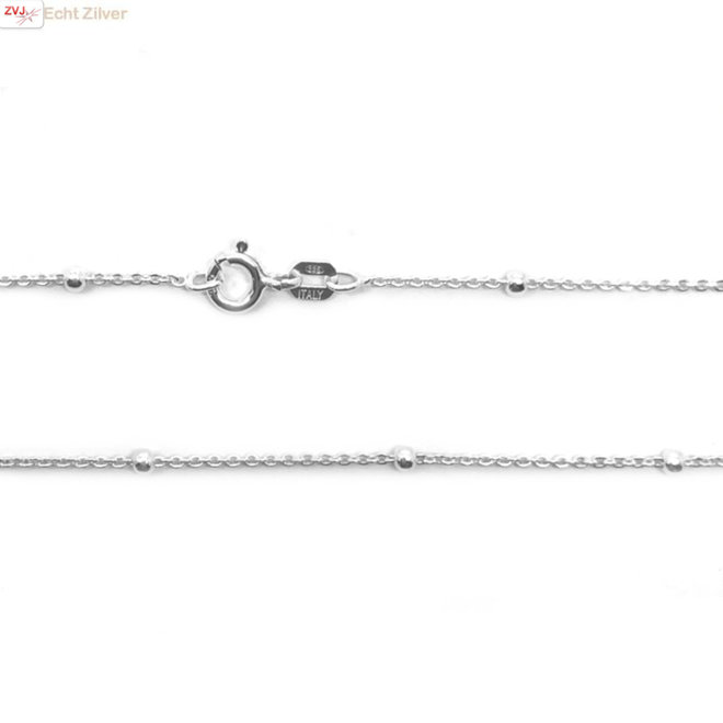 Zilveren kabel bolletjes ketting 45 cm