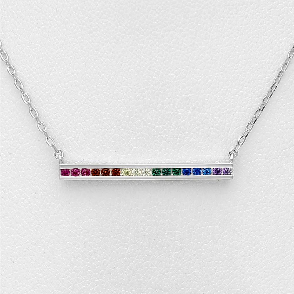 Zilveren regenboog staaf ketting-3