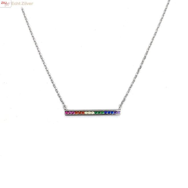 Zilveren regenboog staaf ketting