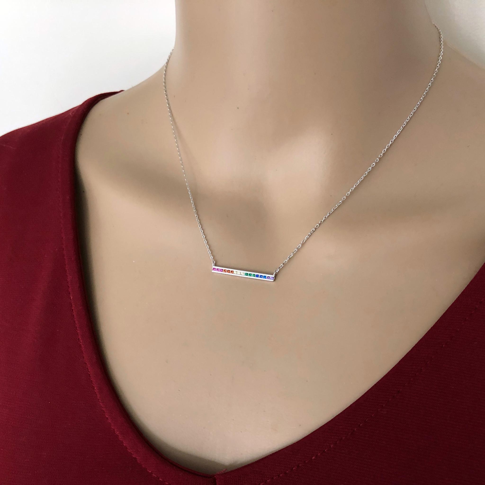 Zilveren regenboog staaf ketting-2