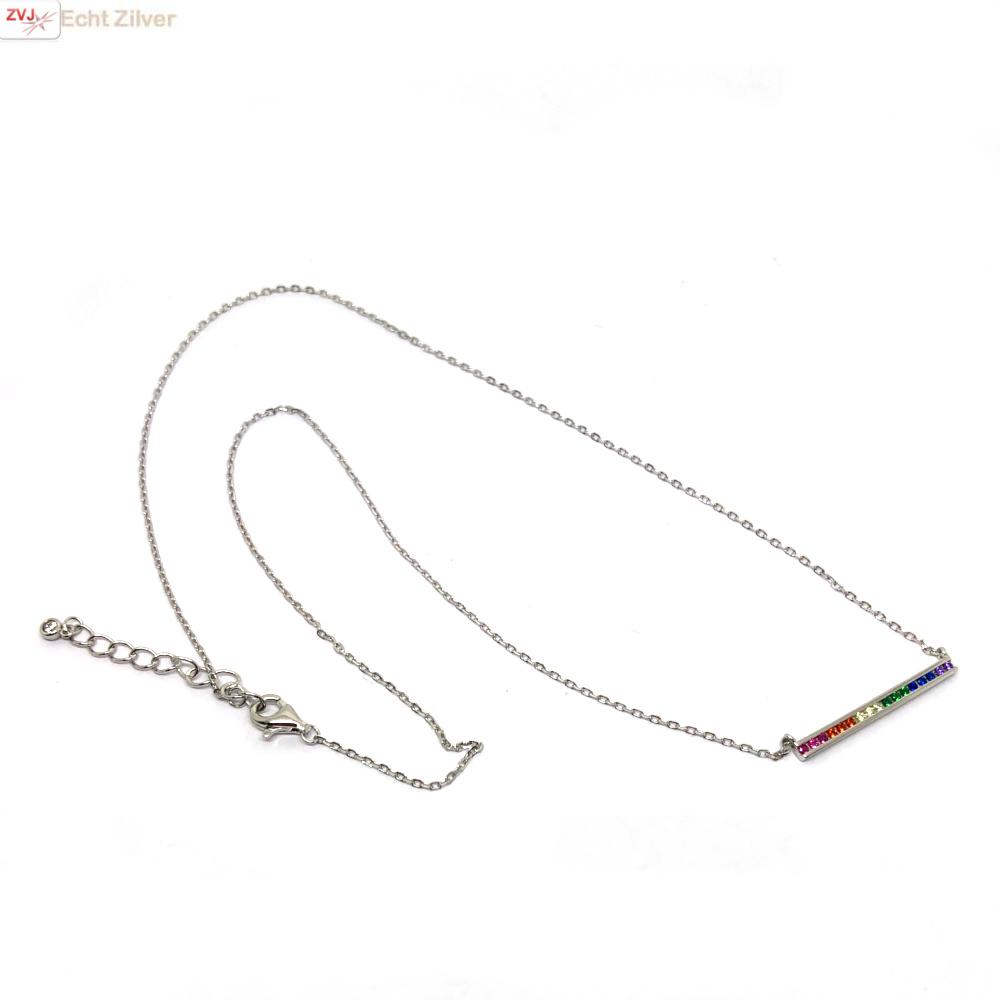 Zilveren regenboog staaf ketting-4