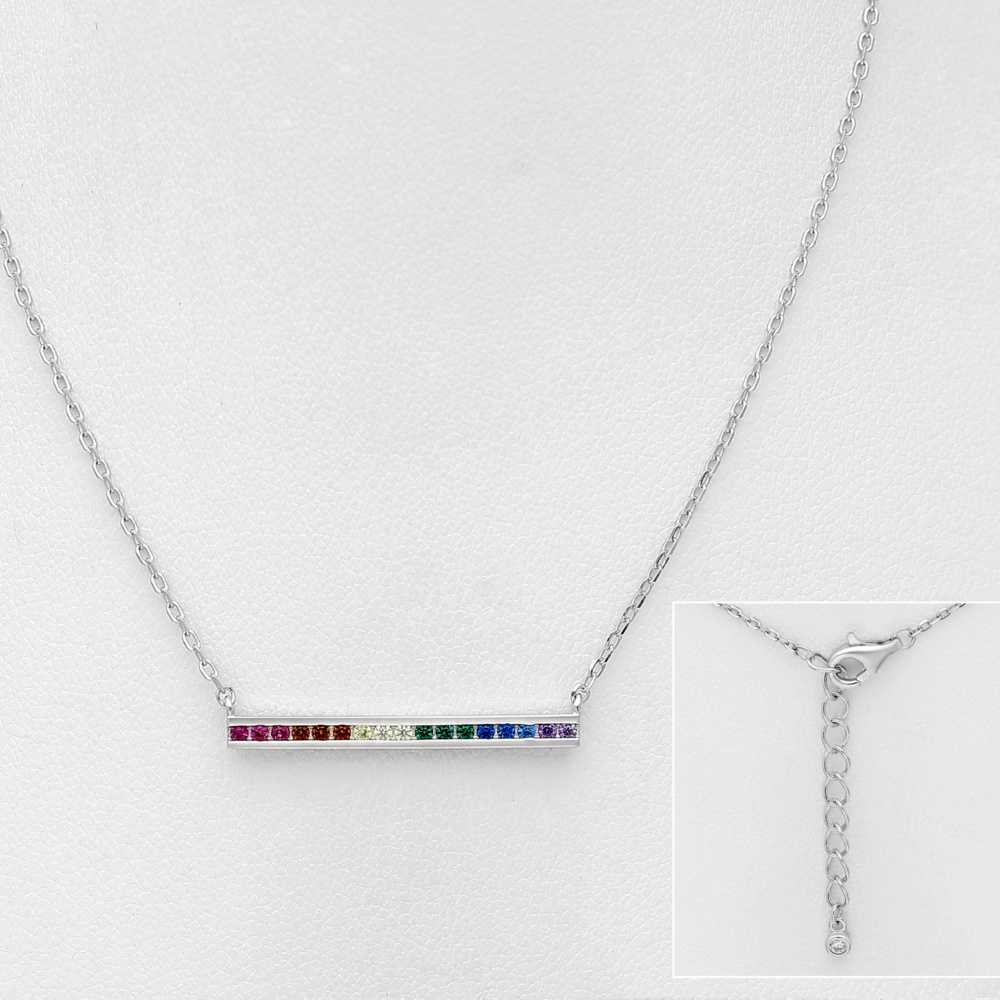 Zilveren regenboog staaf ketting-5