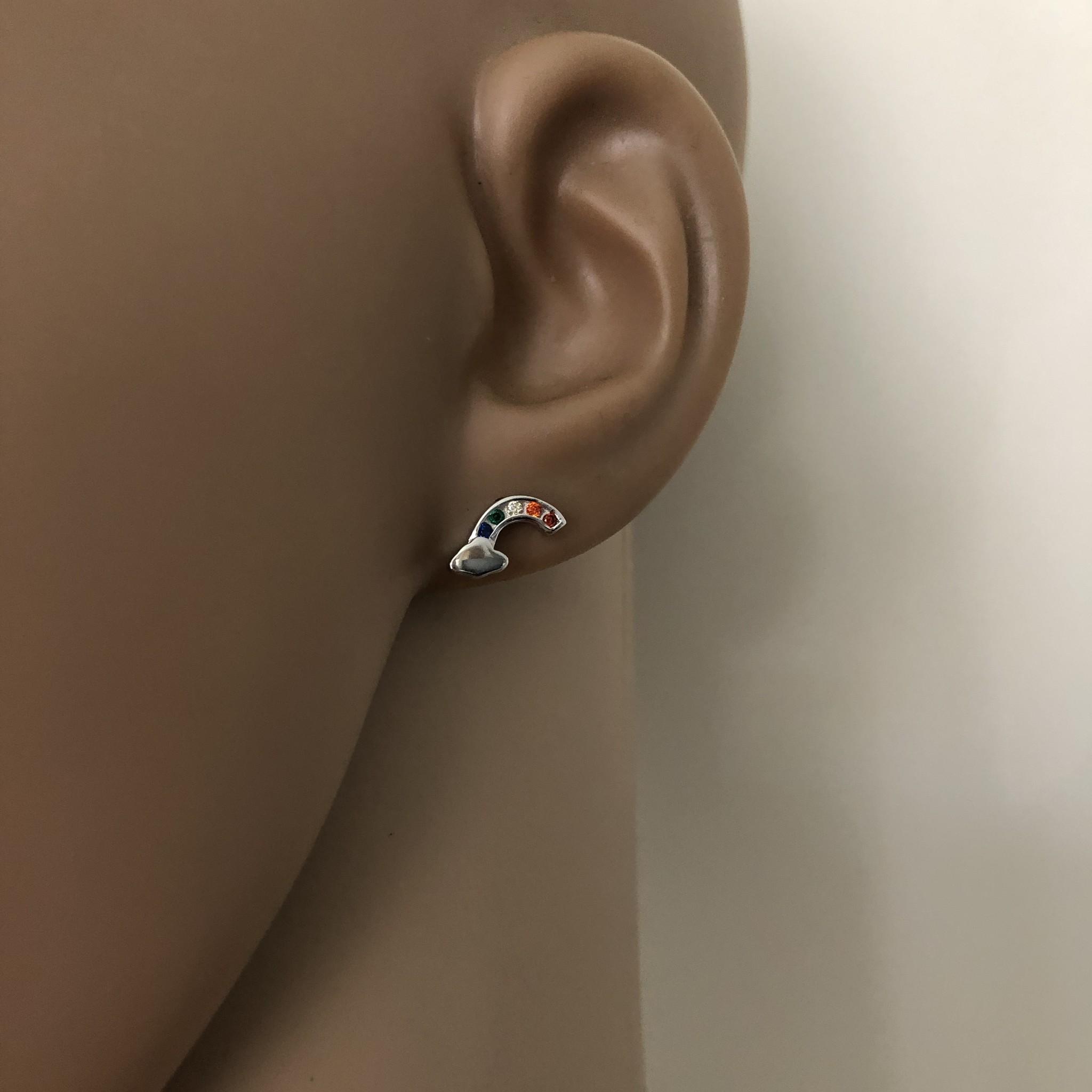 Zilveren regenboog wolk oorstekers-2
