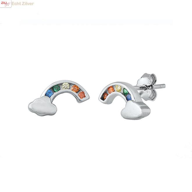 Zilveren regenboog wolk oorstekers