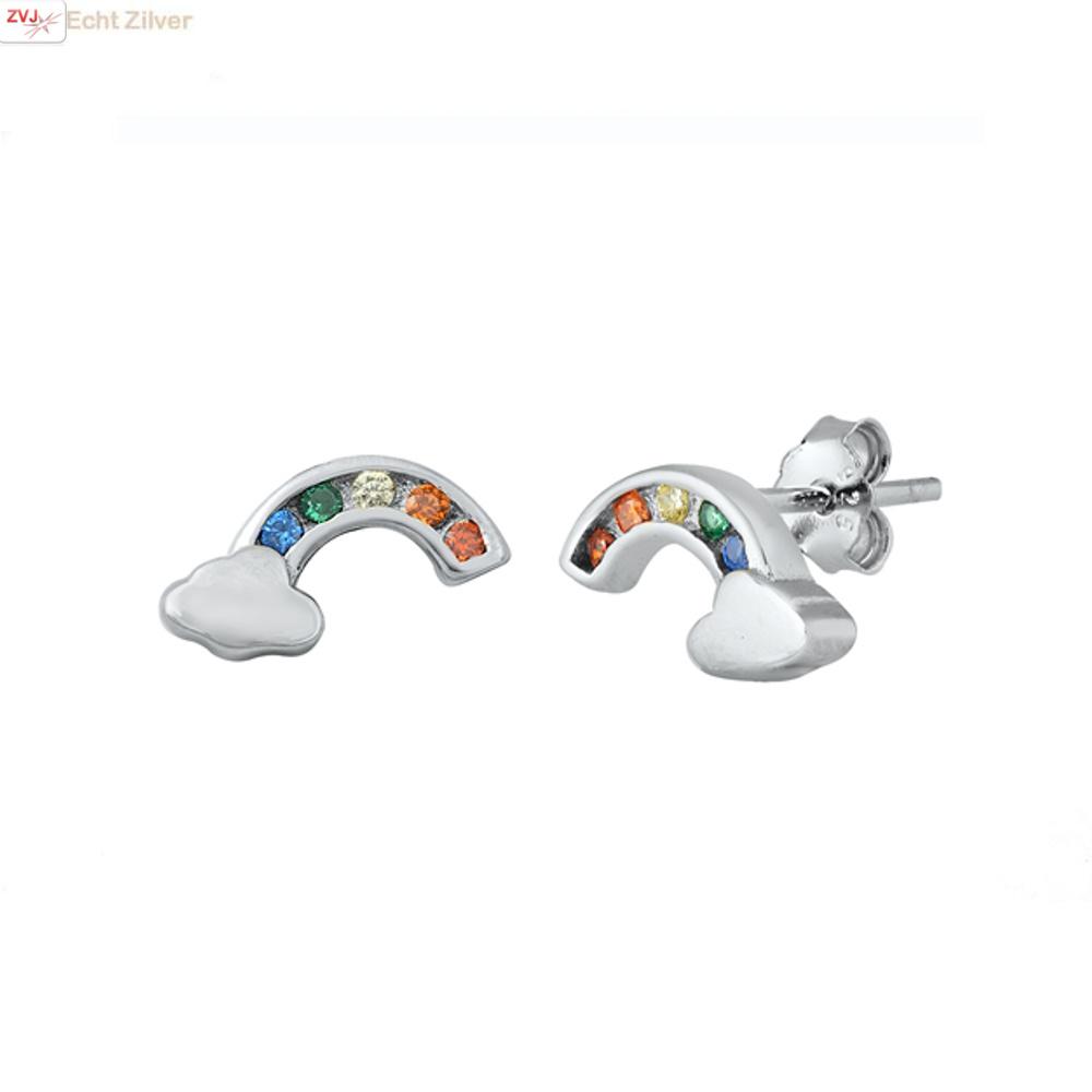 Zilveren regenboog wolk oorstekers-1