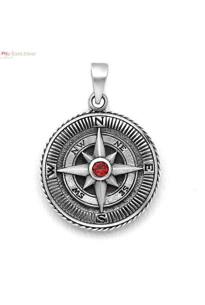Zilveren kompas hanger rode CZ