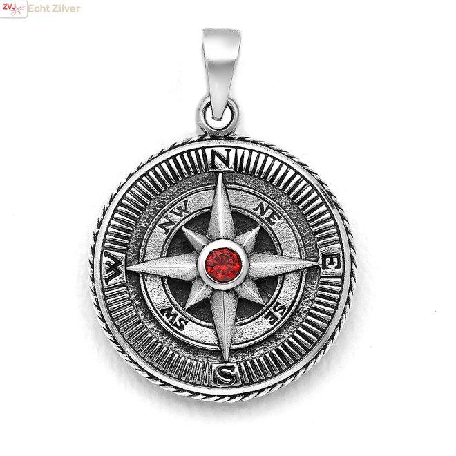 Zilveren grote kompas hanger rode CZ