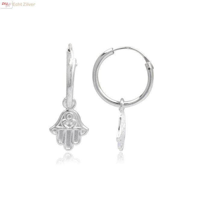 925 Zilveren kleine creolen met hamsa hangertjes